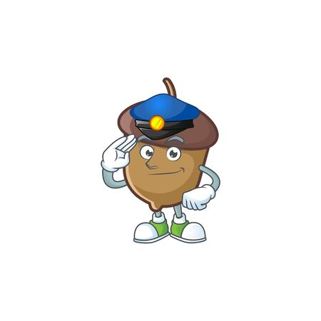 cartoon acorn seed with police character shape Imagens - 133193462