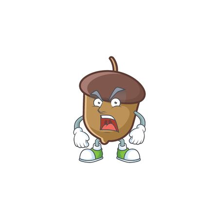 cute acorn with character mascot design angry Illustration