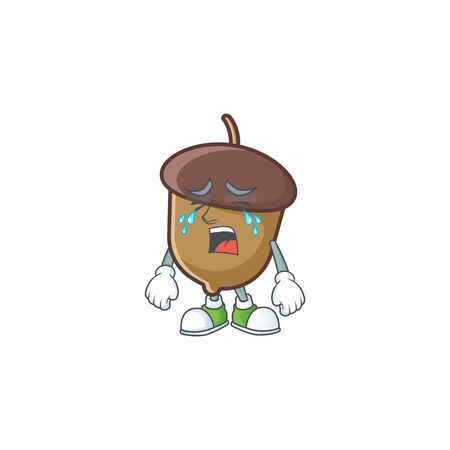 cute acorn with character mascot design crying