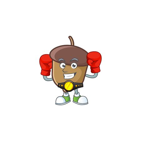 cartoon acorn seed with boxing character shape