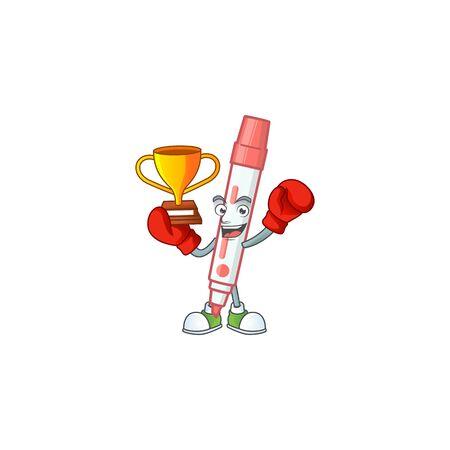 Boxing winner red white board marker on white background.