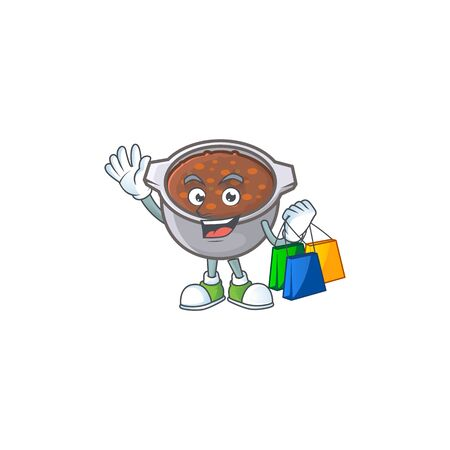 dish baked beans with cartoon shopping mascot