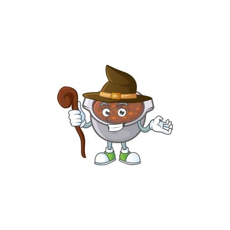 baked beans with witch on white background