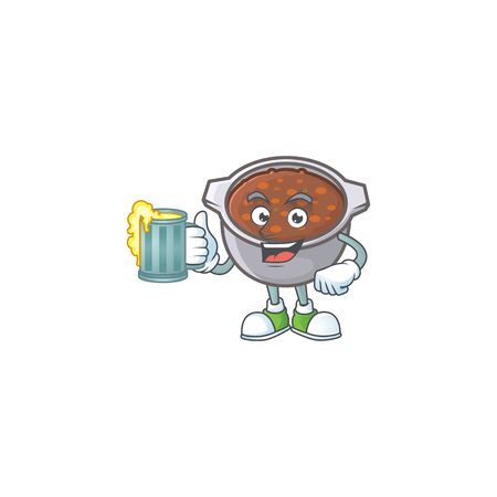 baked beans with holding juice on white background