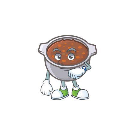 cute baked beans in character design waiting. vector illustration Vettoriali
