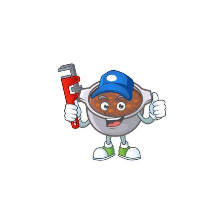 cute baked beans in character design plumber. Vettoriali