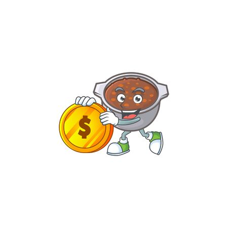 cute baked beans in character design bring coin.