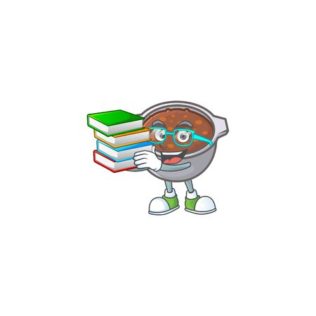 cute baked beans in character design student bring book. Illustration