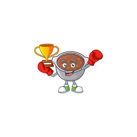 cute baked beans in character design boxing winner.