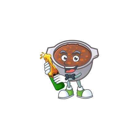 cute baked beans in character design bring beer. vector illustration