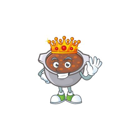 cute baked beans in character design king.