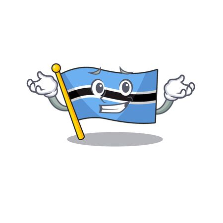 Super cool grinning flag botswana mascot cartoon style. Vector illustration