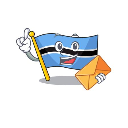 Happy face flag botswana mascot cartoon style with envelope. Vector illustration