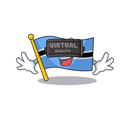 Cool flag botswana character in virtual reality headset. Vector illustration 일러스트