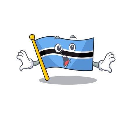 Surprised flag botswanaface gesture with open mouth. Vector illustration
