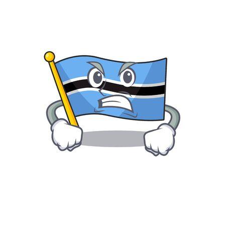 llustration of angry flag botswana mascot vector illustration . Vector illustration