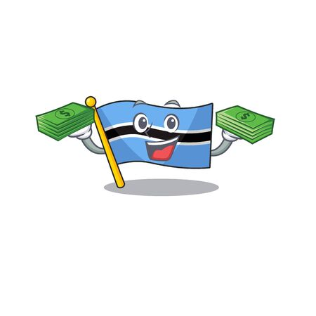 Confident smiley flag botswana character with money bag. Vector illustration