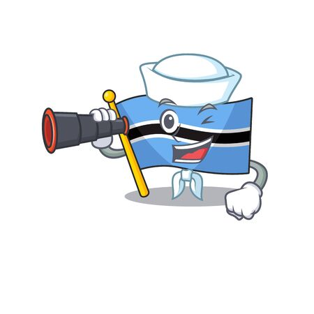 Smiling happy flag botswana as a Sailor with binocular. Vector illustration