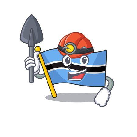 Cool flag botswana miner cartoon mascot illustration style. Vector illustration