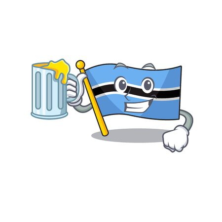 Happy flag botswana holding a glass with juice. Vector illustration