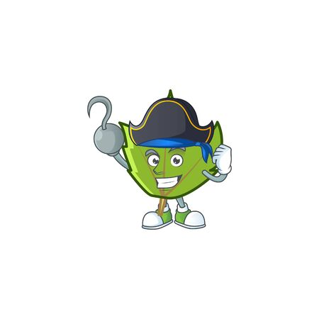 cute green autumn leaves in character pirate.