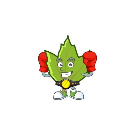 cute green autumn leaves in character boxing.