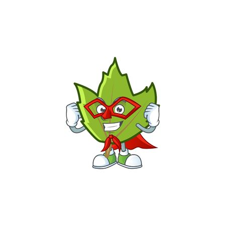cartoon green autumn leaves design mascot super hero. 일러스트