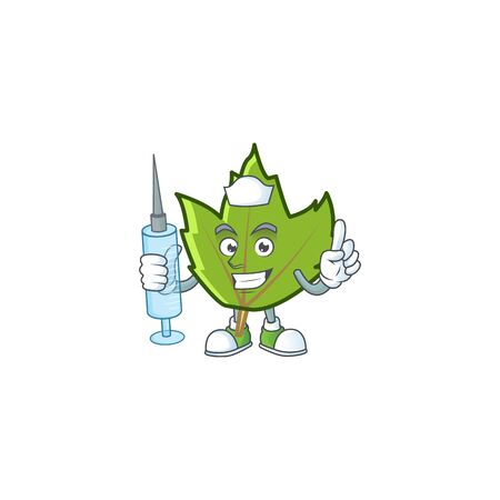 cartoon green autumn leaves design mascot nurse.