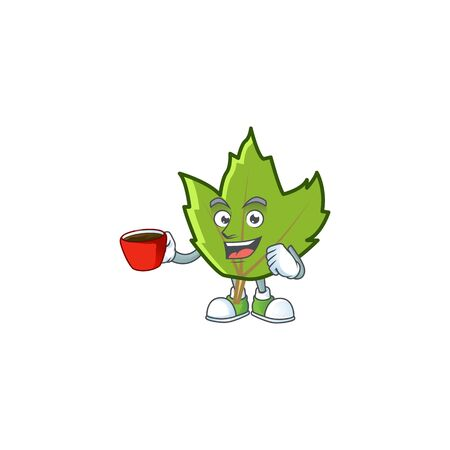 cartoon green autumn leaves design mascot drinking in cup. Illustration