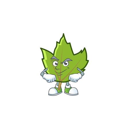 cartoon green autumn leaves design mascot smirking. 일러스트