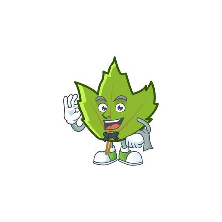 green autumn leaves with waiter character on white background 向量圖像