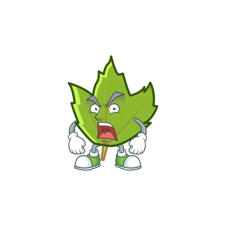 green autumn leaves with angry character on white background