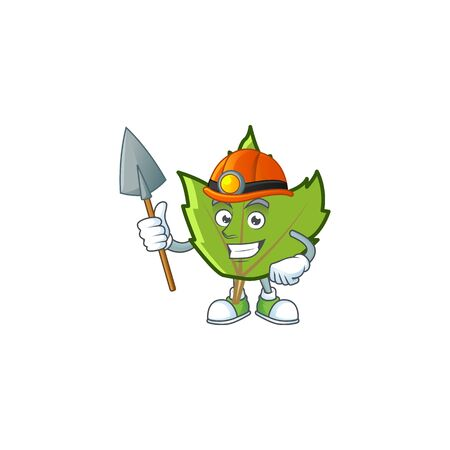 green autumn leaves with miner character on white background 向量圖像