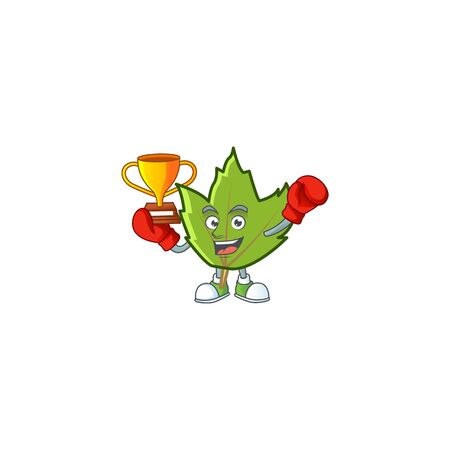 cute green autumn leaves with mascot boxing winner