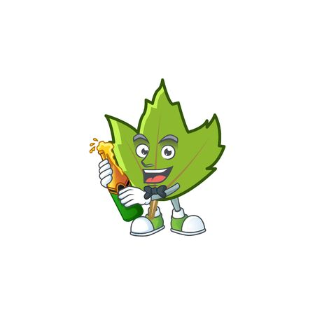 cute green autumn leaves with mascot bring beer