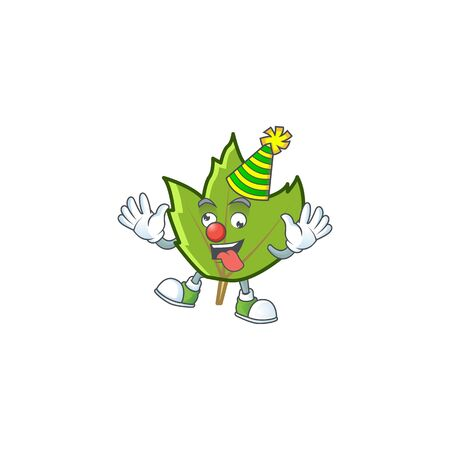 cute green autumn leaves with mascot clown vector illustration 向量圖像