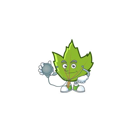 cute green autumn leaves in character doctor. vector illustration 向量圖像