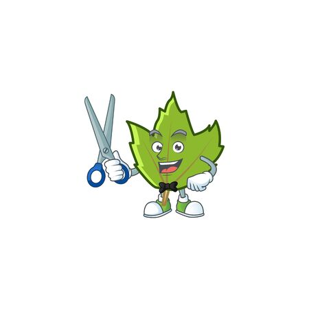 cute green autumn leaves in character barber. vector illustration