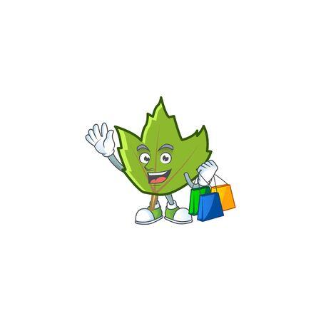 cartoon green autumn leaves design mascot shopping. vector illustration