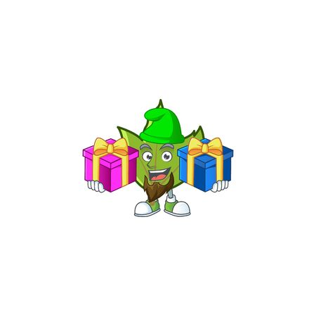 cute green autumn leaves with mascot bring two gifts vector illustration 向量圖像