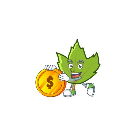 cute green autumn leaves with mascot bring coin vector illustration
