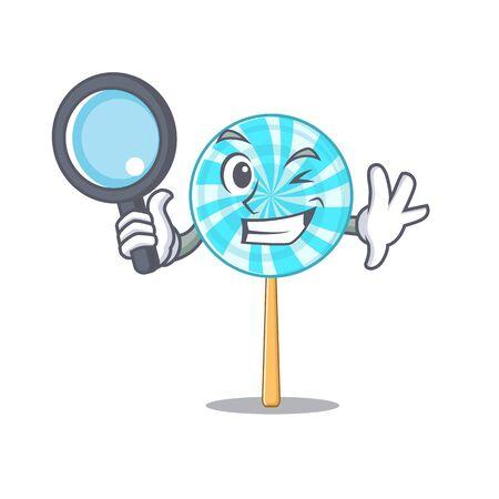 Cheerful lollipop one eye detective cartoon character. Vector illustration
