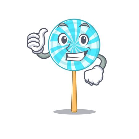Illustration of lollipop while making thumbs up gesture. Vector illustration