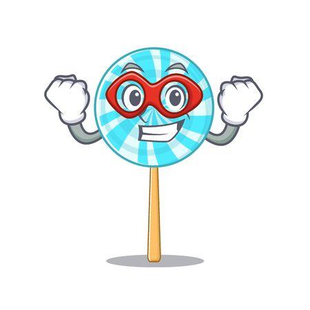A cartoon of lollipop wearing costume of super hero. Vector illustration