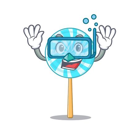 Smiling lollipop cartoon character style wearing diving glasses. Vector illustration