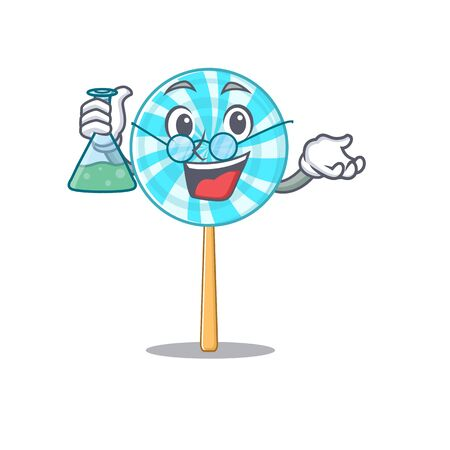 Lollipop as a funny professor cartoon character holding glass tube. Vector illustration 向量圖像