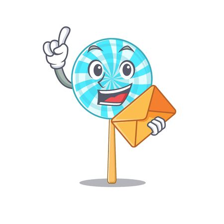Happy face lollipop mascot cartoon style with envelope. Vector illustration