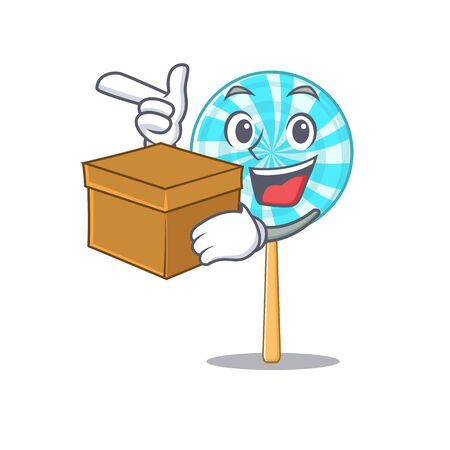 Super funny lollipop cartoon character style with box. Vector illustration