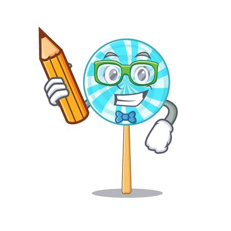 Cool smart lollipop student character holding pencil. Vector illustration
