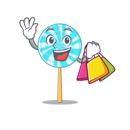 Cheerful lollipop cartoon character waving and holding shopping bag . Vector illustration